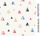linocut triangles seamless...   Shutterstock .eps vector #484769935