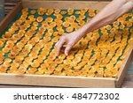 arm of man arrange prunes cut...   Shutterstock . vector #484772302