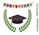 graduation cap and wreath icon. ... | Shutterstock .eps vector #484794172