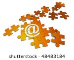 3D rendering of a forming puzzle with the At symbol - stock photo