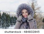 beautiful cheerful woman in... | Shutterstock . vector #484832845