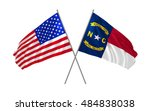 USA and North Carolina State  crossed flags waving in the wind as sign of national holiday or elections day or other state event.