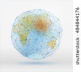 abstract polygonal world map... | Shutterstock .eps vector #484844176