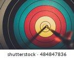 arrow hit goal ring in archery... | Shutterstock . vector #484847836