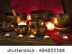 tibetan singing bowls with... | Shutterstock . vector #484855588