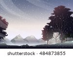 snow on mountain at evening | Shutterstock .eps vector #484873855