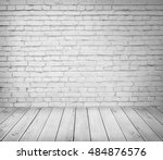white brick wall and wooden... | Shutterstock . vector #484876576