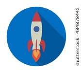 icon of rocket with long shadow.... | Shutterstock .eps vector #484878442