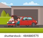 car repair. son helps his... | Shutterstock .eps vector #484880575