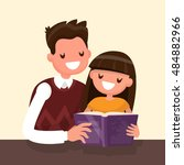 father reading a book to his ... | Shutterstock .eps vector #484882966