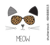 cat with glasses on white... | Shutterstock .eps vector #484888015