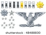 Set of military american army officer ranks insignia icons - stock photo