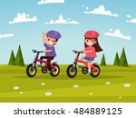 cycling. boy and girl go for a... | Shutterstock .eps vector #484889125