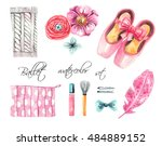 ballet set. pointe shoes ... | Shutterstock . vector #484889152