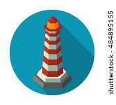 icon of light house. flat... | Shutterstock .eps vector #484895155