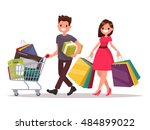 happy family couple with... | Shutterstock .eps vector #484899022