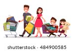 happy family with shopping. big ... | Shutterstock .eps vector #484900585