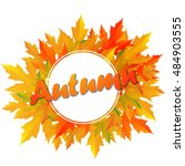 autumn typographic. fall leaf.... | Shutterstock .eps vector #484903555