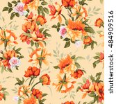 seamless floral pattern with... | Shutterstock .eps vector #484909516
