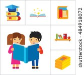 book icon set | Shutterstock .eps vector #484918072