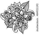 zentangle abstract flowers.... | Shutterstock .eps vector #484921192