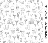 sketch pattern with mushrooms ... | Shutterstock .eps vector #484923232