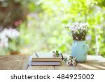 flowers with vintage pot and... | Shutterstock . vector #484925002