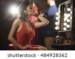 beautiful female model admiring ... | Shutterstock . vector #484928362