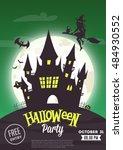 halloween vector poster  | Shutterstock .eps vector #484930552