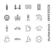 vector london icon set on white ... | Shutterstock .eps vector #484935028