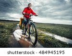 young lady hiker with loaded...   Shutterstock . vector #484945195