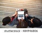 top view of three women student ... | Shutterstock . vector #484946806