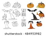 say boo and carry on. halloween ... | Shutterstock .eps vector #484953982