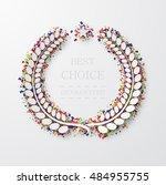 vector modern laurel wreath... | Shutterstock .eps vector #484955755