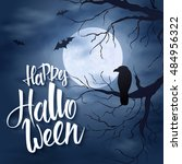 vector halloween poster with... | Shutterstock .eps vector #484956322