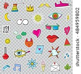 set of patches elements like... | Shutterstock .eps vector #484959802