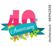 cute template 40 years...   Shutterstock . vector #484962838