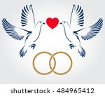 two doves flying with gold...   Shutterstock .eps vector #484965412