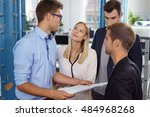 group of young businesspeople... | Shutterstock . vector #484968268