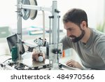 young designer engineer using a ... | Shutterstock . vector #484970566