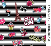 cute fashion seamless pattern... | Shutterstock .eps vector #484975576