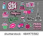 cute fashion patch badges with... | Shutterstock .eps vector #484975582