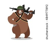 military bear with rifle.... | Shutterstock .eps vector #484977892