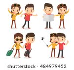 a couple of traveler.  | Shutterstock .eps vector #484979452