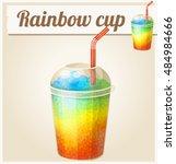 rainbow ice cup  frozen drink . ... | Shutterstock .eps vector #484984666