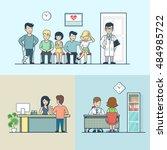 linear flat clinic interior... | Shutterstock .eps vector #484985722