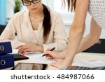 two female accountants counting ... | Shutterstock . vector #484987066
