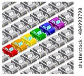 row of cars in gay pride colors ... | Shutterstock .eps vector #484993798