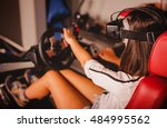 woman play the video game with... | Shutterstock . vector #484995562