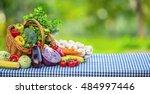 fresh mix vegetable on garden... | Shutterstock . vector #484997446
